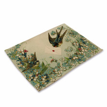 Cartoon Bird Printed Western Pad Retro Flower Cotton Linen Table Placemat Insulation Disc Bowl Dining Table Mat Coasters