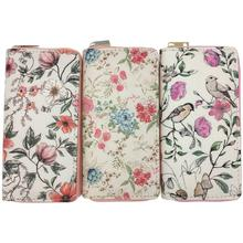 KANDRA Watercolor Flower PU Leather Long Wallet Clutch Purse Women Zipper Around Travel Pouch Card Holder Phone Bag Girls Gift