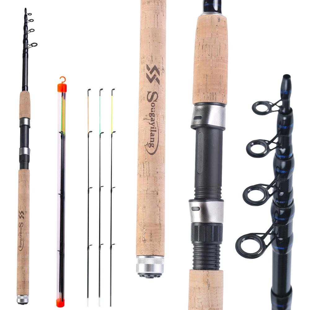 Sougayilang L M H Power Feeder Fishing Rod Spinning /6 Sections Carbon Fiber Travel Rod 3.0M 3.3M 3.6M With Free Spare Tip