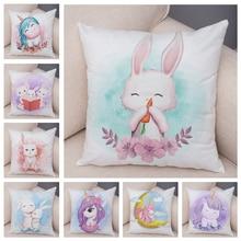 Pillow-Case Cushion-Covers Unicorn Rabbit Sofa-Decor Animal Lovely Cartoon Soft Plush