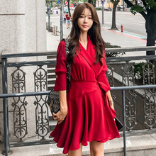 Large Size Women Half Sleeve Corset Red Mini Dress A-line Casual Solid Oversized Autumn Robe