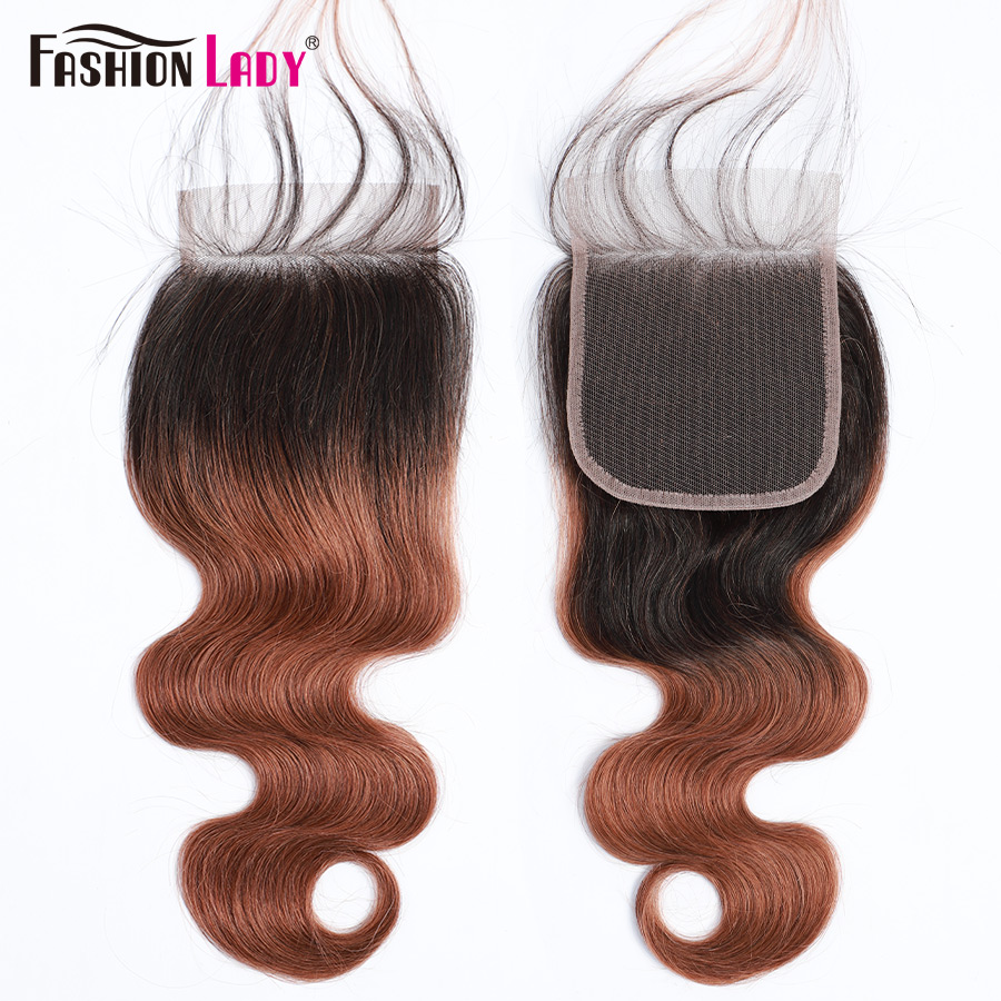Fashion Lady Pre-Colored Brazilian Human Hair Closure 1B 30 4*4 Lace Closure Bodywave Closure Non Remy 10-20 Inch