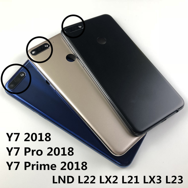 For Huawei Y7 2018/Y7 Pro 2018/Y7 Prime 2018 Housing Battery Cover Back Cover rear camera glass lens Power Volume Buttons logo