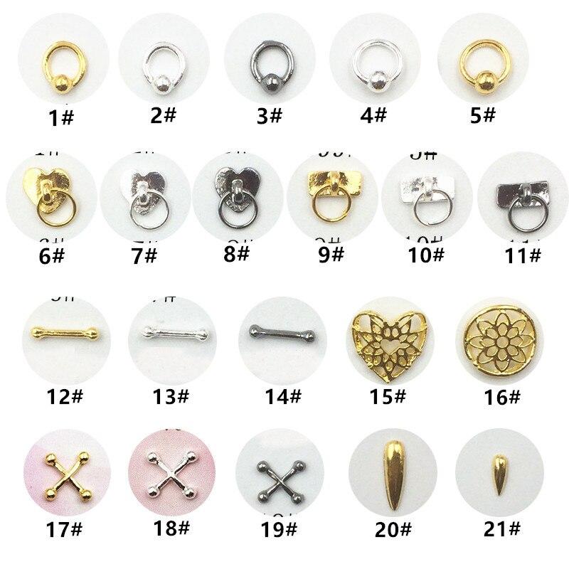 50 шт./упак., японские металлические 3D украшения для дизайна ногтей, Kawaii Cross Hollow Heart Nail Parts, аксессуары для ногтей «сделай сам», сплав, материалы ...
