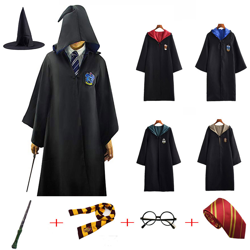 Costume Robe Potter Gryffindor/Slytherin/Ravenclaw/Hufflepuff Cosplay Potter Costumes Kids Adult Cape Cloak Hot Birthday Gifts