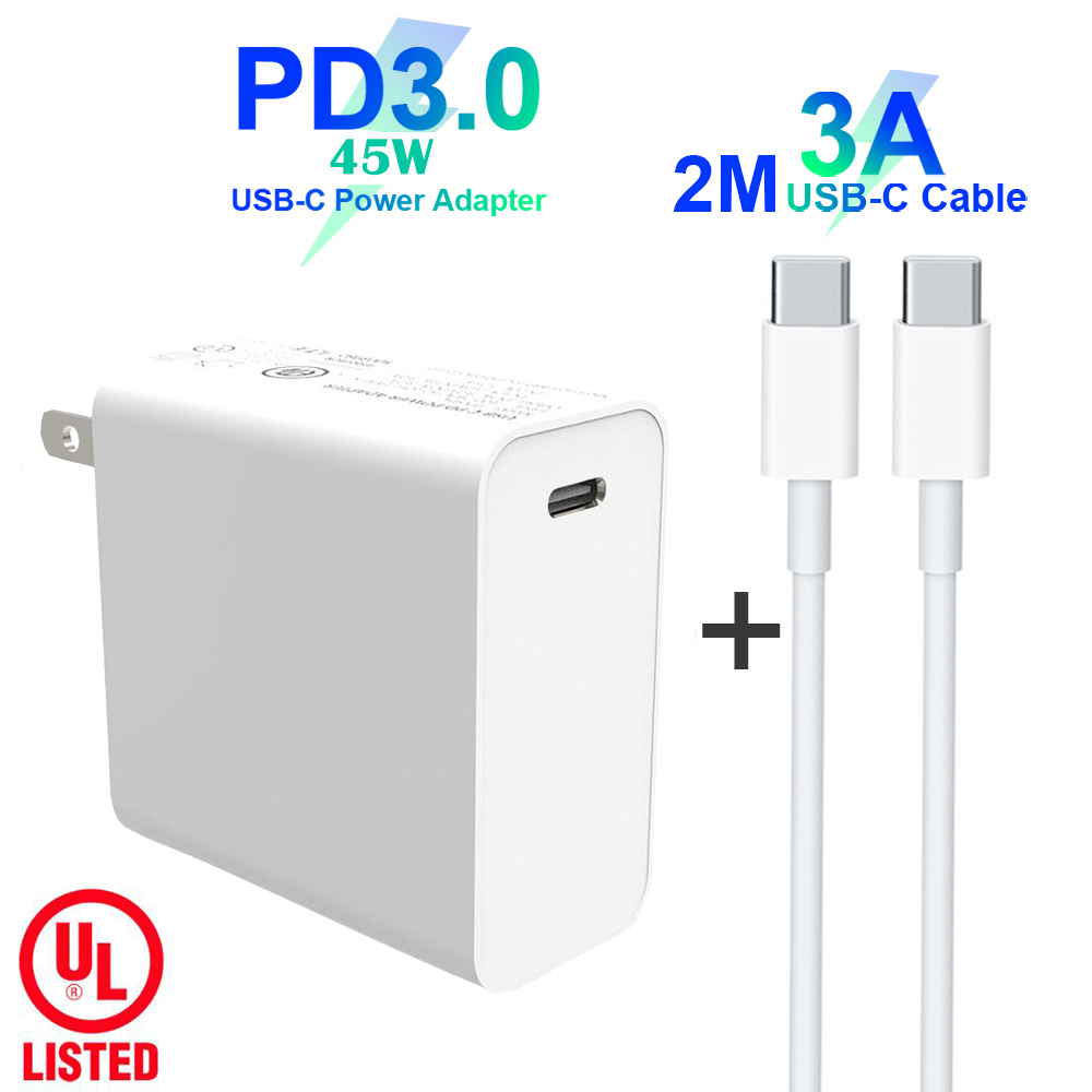 USB C Power Adapter PD/QC3.0 45W TYPE C Wall Charger For USB C Laptops/MacBook/iPad/xiaomi/Samsung (USB C cable)|Mobile Phone Chargers| |  -
