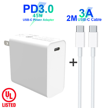 USB C Power Adapter PD/QC3.0 45W TYPE-C Wall Charger For USB-C Laptops/MacBook/iPad/xiaomi/Samsung (USB-C cable)