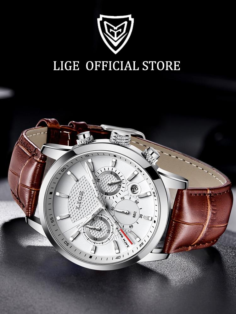 LIGE Waterproof Watch Quartz-Clock Military Sport Men Fashion Relogio Brand Luxury Masculino
