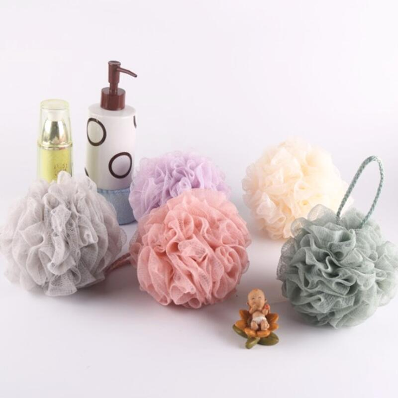 Bath Ball Bathroom Scrubber Nylon Mesh Body Cleaning Shower Soft Heart Sponge Rich Bubbles Bath Flower LX8936