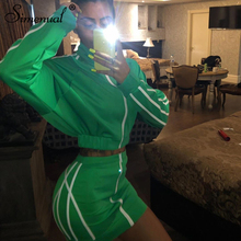 Simenual Casual Fashion Autumn Matching Set Women Long Sleeve Sportswear Two Piece Outfits Zipper Striped Top And Skirt Sets Hot