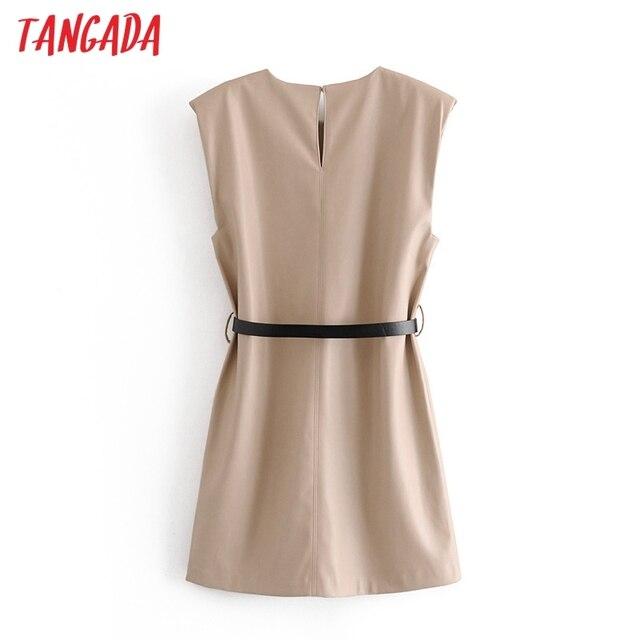 Tangada 2020 Autumn fashion women pu leather dress sleeveless office ladies mini dress with slash QN54 5