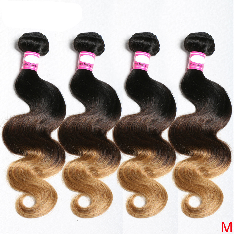 Brazilian Body Wave Hair Weave Bundles 8-26 inches Ombre 1B 4/27/30 Color 100% Human Hair 3/4 Bundles Non-Remy Hair Extensions