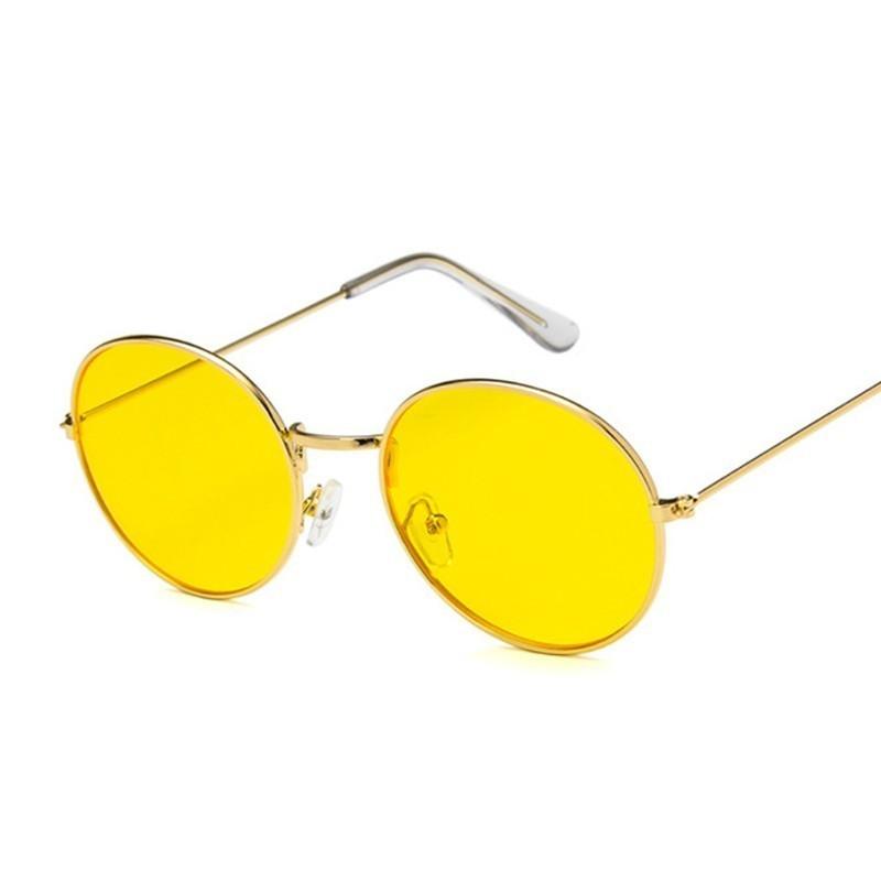 2020 Retro Round Yellow Sunglasses Women Brand Designer Sun Glasses For Female Male/man Alloy Mirror Oculos De Sol