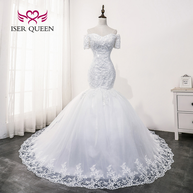 Short Cap Sleeves Lace Appliques Mermaid Wedding Dress 2020 New Arrival Beading Quality Bride Dress Africa Style WX0176