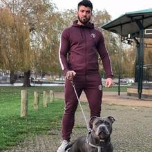 Correndo terno do esporte dos homens ginásio de fitness agasalhos moletom moletom novo masculino algodão hoodies calças jogging esporte topos jaqueta