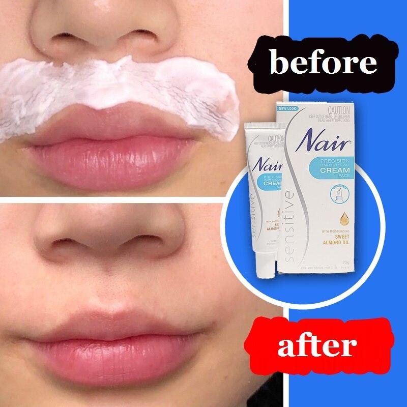 Removedor de Cabelo Remover o Cabelo Indesejado do Lábio Nair Original Precisão Facial Creme 20g Superior Queixo Bochechas Suave Pele Sensível