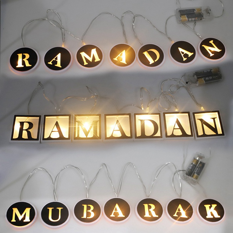 LED Ramadan Letters String Lights Eid Islam Muslim Ramadan Decoration Lights For Wedding Christmas Party Holiday Light