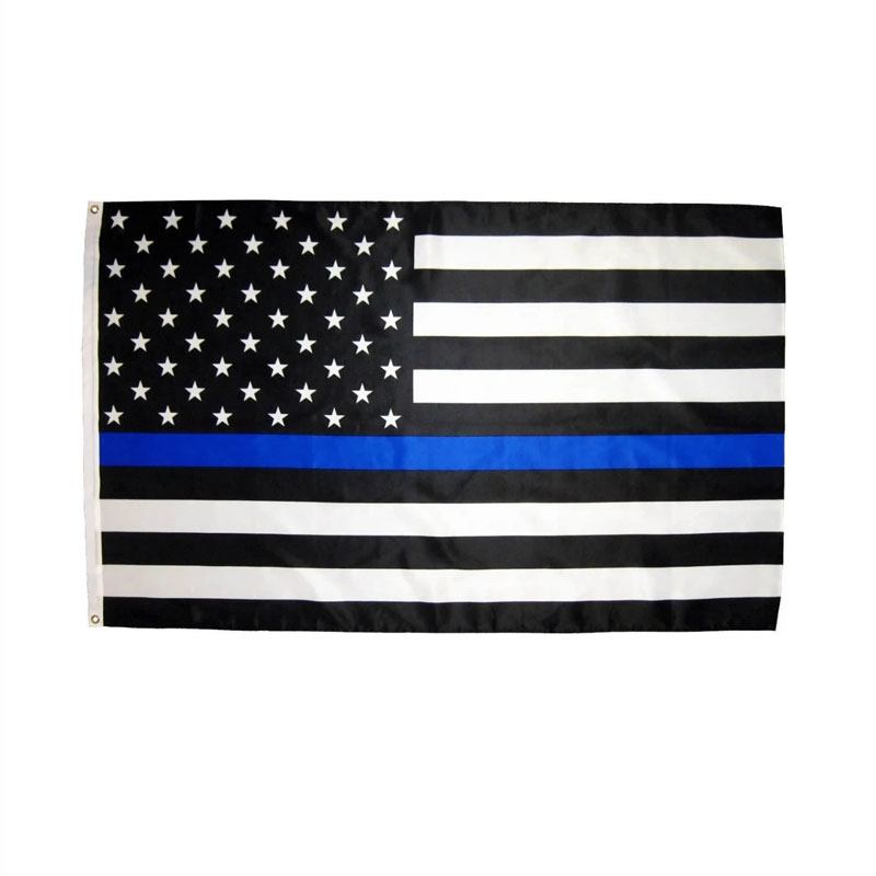 johnin 3 by 5 ft polyester united states of american thin blue line first responder police memorial flag in Flags Banners Accessories from Home Garden