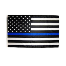 johnin 3 by 5 ft polyester united states of american thin blue line first responder police memorial flag цена и фото