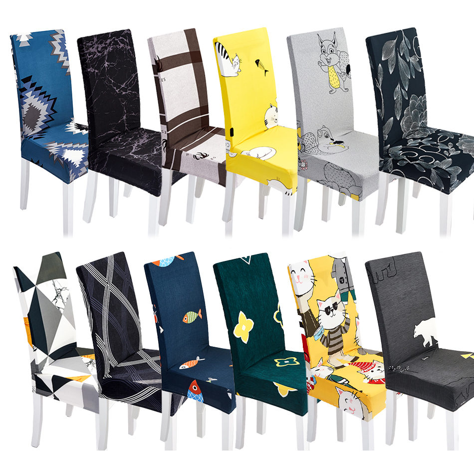 1PC Geometric Chair Cover Spandex Slipcovers For Dining Room Stretch Elastic Banquet Hotel Kitchen Wedding