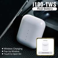 I100 TWS inalámbrica Bluetooth auriculares carga inalámbrica QI 1:1 auriculares Pop muy Battetry mostrar PK i90 i80 i60 i30 i20 TWS
