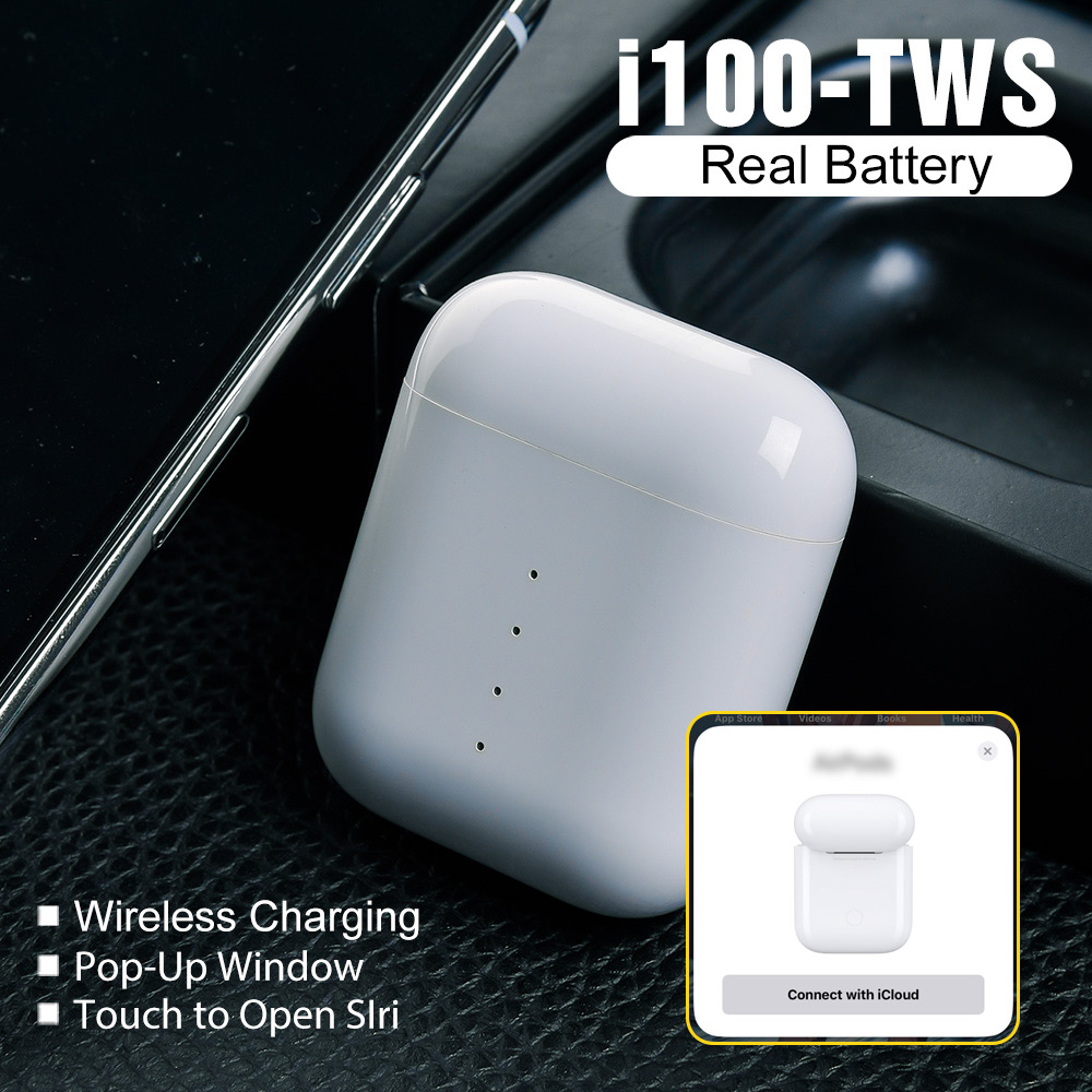i100 TWS Wireless Bluetooth Earphones QI Wireless Charging 1:1 Earbuds Pop up Real Battetry Show PK i90 i80 i60 i30 i20 TWS in Bluetooth Earphones Headphones from Consumer Electronics