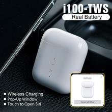 i100 TWS Wireless Bluetooth Earphones QI Charging  1:1 Earbuds Pop up Real Battetry Show PK i90 i80 i60 i30 i20