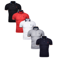 Dropshipping 5pieces/Lot Men's Polo Brand Casual Giraffe Embroidery Slim Fit Polo Shirt Men Fashion Mix Colors Collar Tops