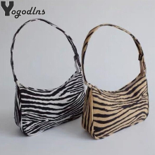 2021 Retro Female Shoulder Bag Velvet Zebra Print Lady Baguette Messenger Bag Casual Zipper Shoulder Bag Sac Handbags and Purse