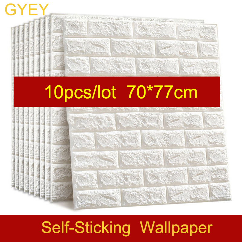 10PCS Self adhesive Waterproof TV Background Brick Wallpapers 3D Wall Sticker Living Room Wallpaper Mural Bedroom Decorative(China)