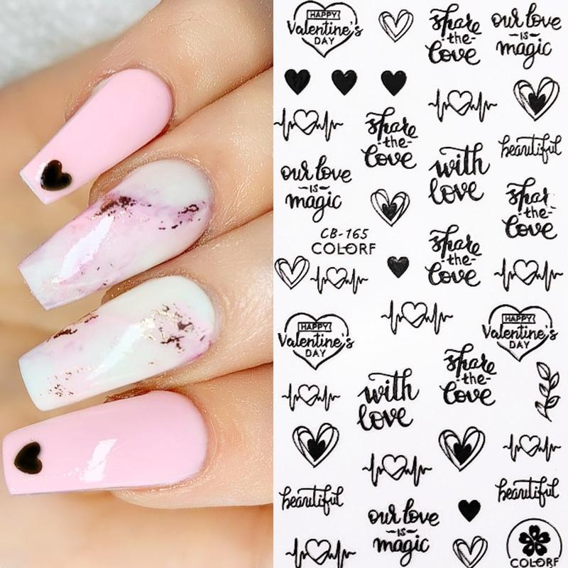 Nail Art Slider 3D Nail Stickers Transfer Water Decals Phrase Heart  Nail Sticker Letter Water Slider DIY Design Decoration