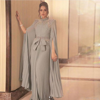 Saudi Arabic Pleated Pearls A line Evening Gowns With Full Cloak Sleeves Elegant Light Gray Chiffon Formal Dresses