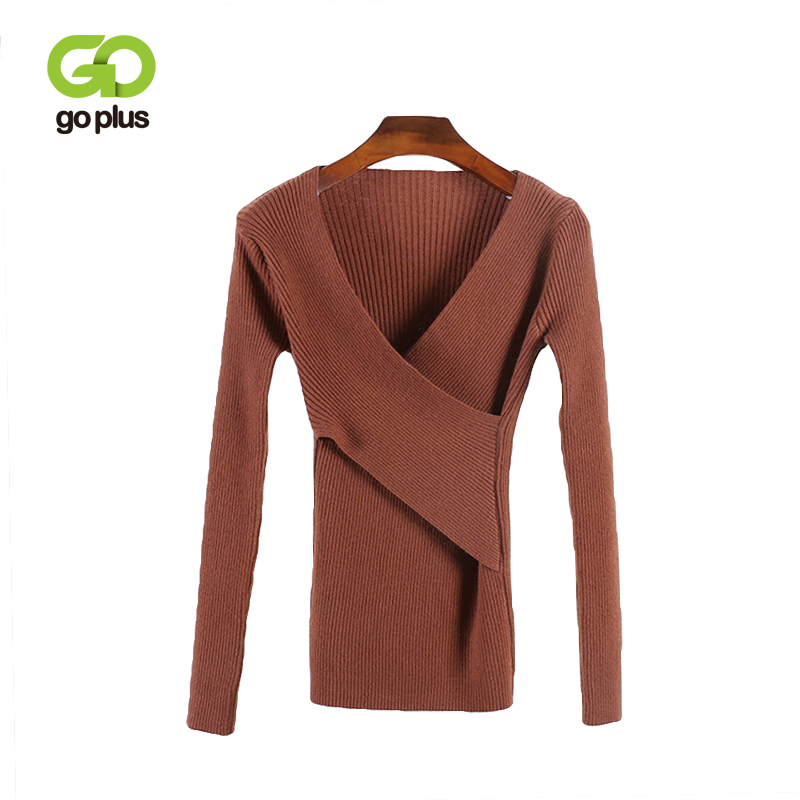 GOPLUS Criss Cross V Neck Knitted Sweater Women Long Sleeve 2019 Spring Autumn Sexy Pullovers All Match Feminino Sweaters C8963