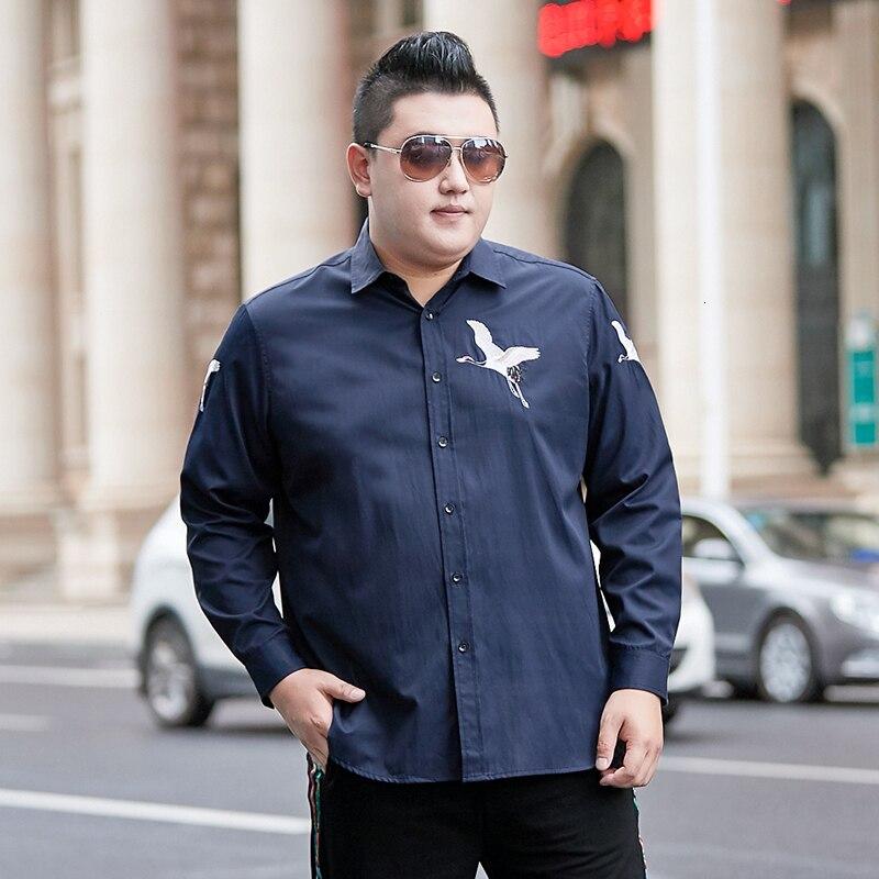 Male 2020 New Men's Long-Sleeved Dress Shirt Letter Print Men's Casual Slim Lapel Male Quality Large Size 8XL 7XL Mens Shirts