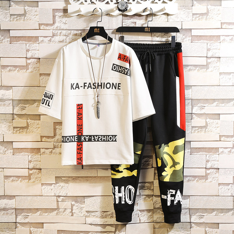 Summer Wear Men's New Style T-shirt Suit Trend Of Fashion Loose-Fit Printed Handsome Youth Students Sports Two-Piece Set