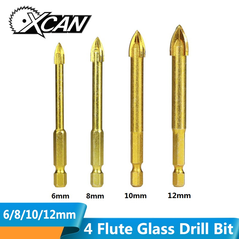 XCAN 1pc 6-12mm Hex Shank Glass Drill Bit Titanium Coated Ceramic Tile Marble Glass Carbide Drill Bits Power Tools Accessories
