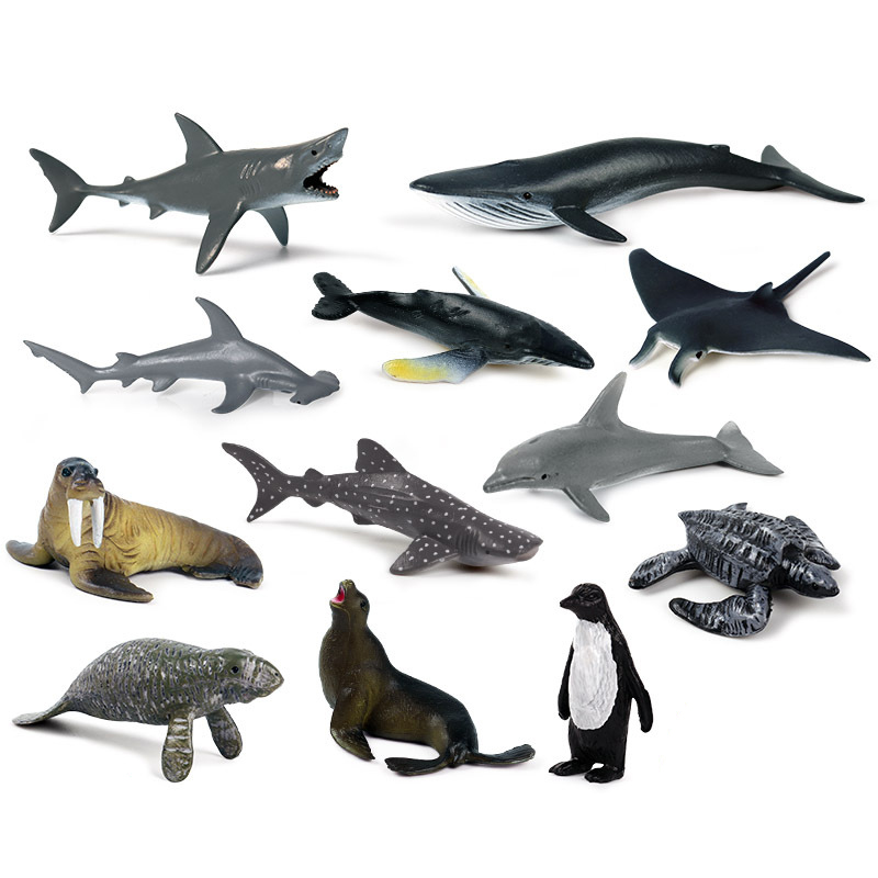 12Pcs/Set Sea Life Animals Megalodon Dolphin Rays Whale Shark Model Action Figures Ocean Aquarium Miniature Education Kid Toys