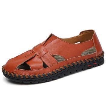 2019 New Casual Men Soft Sandals Comfortable Men Summer Leather Sandals Men Roman Summer Outdoor Beach Sandals Big Size 38-46