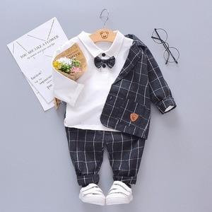 Image 2 - Çocuk kravat Blazer resmi pamuk beyefendi rahat giyim bahar sonbahar bebek erkek kız ceket T Shirt pantolon 3 adet/takım bebek seti