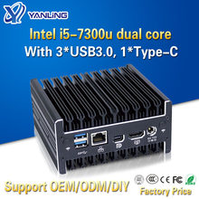 Yanling alta estabilidade intel core i5 7300u nuc mini computador fanless do cliente fino do núcleo duplo do pc com 3 * usb3.0 tipo-c porto para a casa