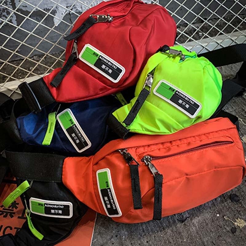 Male Fanny Pack Women Pouch Chest Bag Men Streetwear Hip Bag Nylon Banana Bag Kidney High Quality Zipper Man Messenger Bags