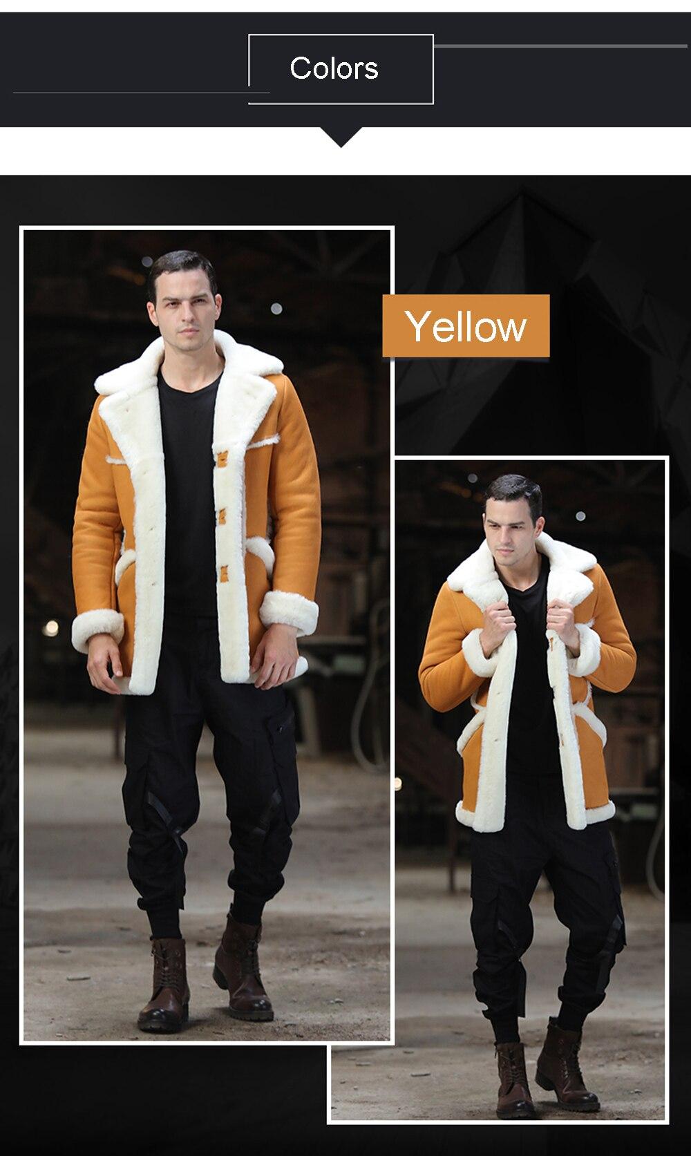 H86da7896889f41fb98501751358bffc3v Men Luxury Fur Shearling Coat Yellow Soft Thicken Fur Coat Winter Male Formal Business Fur Sheepskin Jackets