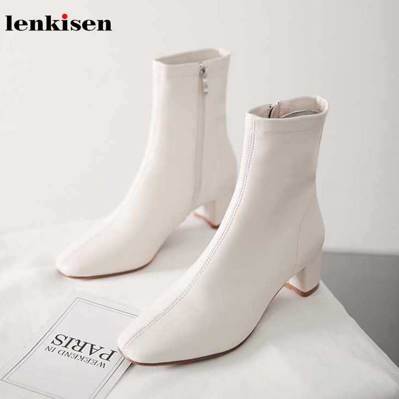 Lenkisen hot Korean girl sweet genuine leather med heels square toe concise style dating winter keep warm women ankle boots L11