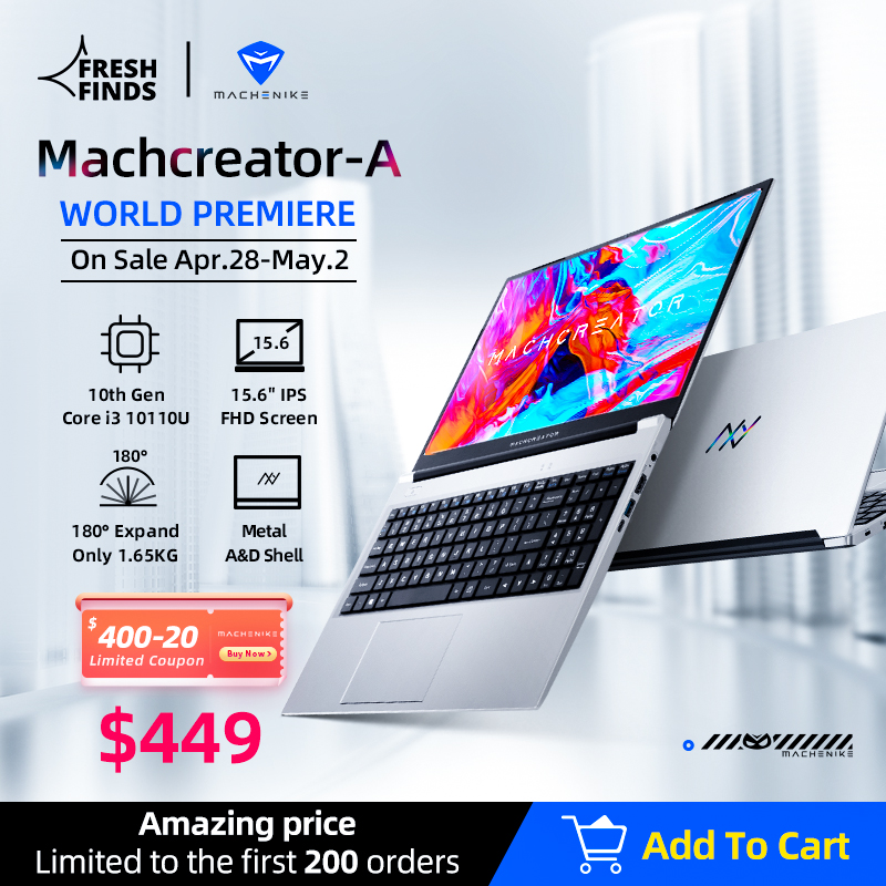 [World Premie] металлический ультрабук для ноутбука Machcreator A intel core i3 10110U 8G 256G SSD 15,6 ''FHD IPS студенческий портативный офис