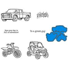 TRUCK MOTORBIKE Metal Cutting Dies and Rubber Stamps For Scrapbooking Craft Die Cut Stencil Card Make Album Sheet Decoration jc rubber stamps and metal cutting dies scrapbooking craft house pet dog s home stencil for card making album sheet decoration
