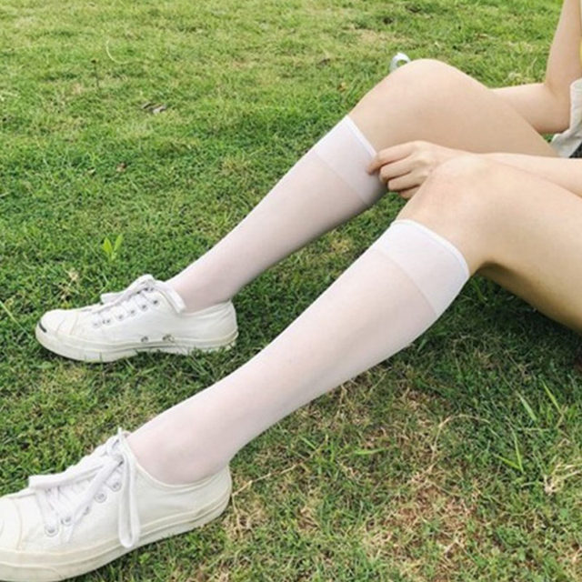 2020 Women Lower Knee Socks Thigh High Stockings Warm Japanese Style Black White Cotton Long Sock Hot Sale