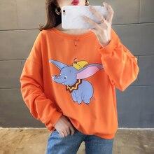 Milinsus Cartoon Dumbo Sweatshirt  Women Plus size Long sleeve Loose Printed korean Hoodie Female tops Autumn 2019