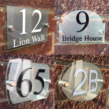 Modern house sign number house number house number outdoor number stickers door number street glass effect acrylic silver name фото