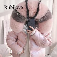 Rubilove Down jacket women fox fur collar 2019 new thick warm hooded white duck down jacket women coats fur coat стоимость