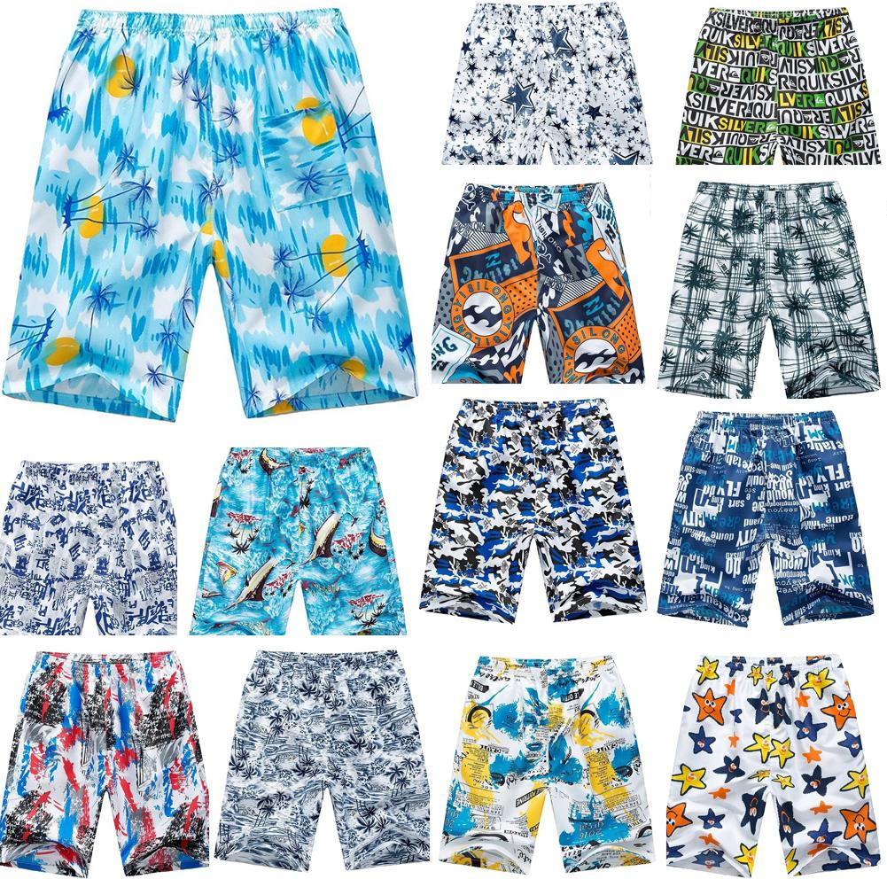 Random Color Men Casual Loose Quick Dry Elastic Waist Drawstring Breathable Beach Shorts Pattern Print Fashion Board Shorts